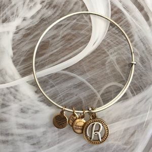 Alex and Ani R Initial Two Tone Charm Bracelet